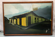 38 X 27 Original Oil Painting South American Cerveza Cantina Singed 1979