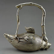 Old China Manually Collecting Old Tibet Silver Bamboo Bamboo Shoots The Teapot