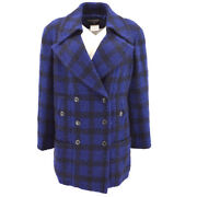 96a 42 Double Breasted Cc Button Tweed Long Sleeve Jacket Blue Y04476