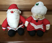 Made In Korea Santa And Mrs Claus Nylon Puffy Stuffed Spectacles Christmas Evc Vtg