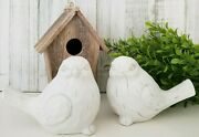 Birch And Bliss - Chubby White Modern Farmhouse Birds Set Of 2 Rustic Distressed