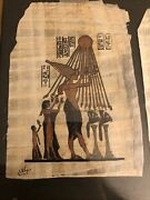 Vintage Two Egyptian Art On Papyrus Hand Painted Signed Framed Together Estate