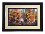 Yongqun Guo Signed Painting Manchurian Cranes In Autumn Forest Chinese American