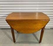 Vintage Solid Maple Drop Leaf Table With Fancy Legs On Casters