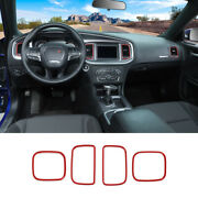 4pcs Dashboard Air Outlet Vent Frame Trim Decor Ring For Dodge Charger 2011+ Red