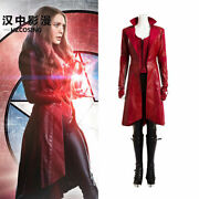 Hzym Scarlet Witch Cosplay Costume Leather Outfit Red Captain America Civil War