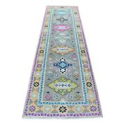 2and0398x9and0394 Fusion Kazak Runner Tribal Design Pure Wool Hand Knotted Rug R55559