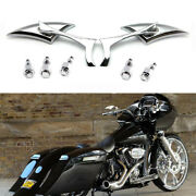 Chrome Motorcycle Blade Mirrors For Harley Street Glide Road Glide King Touring