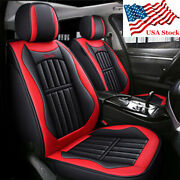 Car Seat Covers Full Set Red And Black Pu Leather Front + Rear 5-seats Pad Cushion