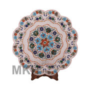 White Marble Plate Inlay Stone Vintage Marquetry Pietradura Mosaic Hand Carved