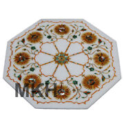 Marble Tile Inlay Gem Stone Coffee Table Vintage Marquetry Wall Decor Gifts T54