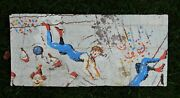 Hand Painted Tar Paper Antique Circus Advertising Poster Acrobats Salvaged