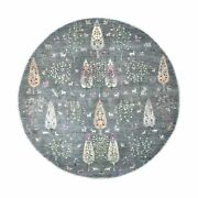 8'2x8'2 Round Folk Art Willow And Cypress Tree Design Hand Knotted Rug R55704