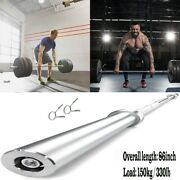 7ft Olympic Chrome Bar 330lb Weight Lifting Barbell Rod For Workout Gym Train Us