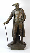 Large Antique Vienna Bronze Statue Man In Unusual Clothing By August Kuhne