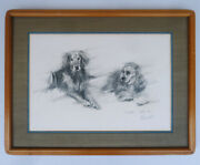 Original Aldo Luongo Charcoal Drawing Sketch 2 Dogs 1-of-a-kind Signed Framed