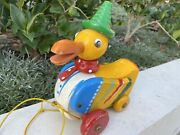Vintage Collectible German Walter - Giftfrei Wooden Animated Duck Quack Pull Toy