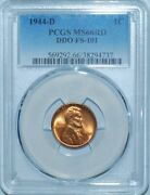 1944 D Pcgs Ms66rd Red Ddo Fs-101 Double Doubled Die Obverse Lincoln Cent
