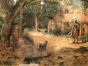 Hamilton Hamilton Giant Watercolor, Old Beggar With Ladies In Country Landscape