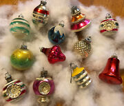 Vintage Shiny Brite Christmas Tree Ornaments 12 Assorted Shapes Indent Ufo Mica