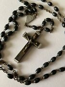 Antique Old Religious Church Long Rosary Italy Wooden Wood Cross Rare