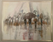 Vintage Framed Ferrante Oil Painting Abstract Textured Umbrellas 52andrdquo X 42andrdquo Large
