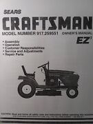 Sears Craftsman 15.5 Hydro 42 Mower Lawn Tractor Owner And Parts Manual 917.259551