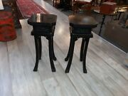 Pair Mid Century Modern Asian Style Stands Black Possibly James Mont