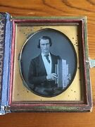Man With Flutina 1850s Daguerreotype Photo In A Color Floral The Token Case