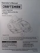 Sears Craftsman Lt1500 7sp 17.5hp 42 Lawn Tractor Owner Andparts Manual 246.288812
