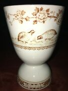 Ironstone Furnivals Quail Eggcup Egg Cup Double Brown Transferware 1890s