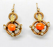 Antique Victorian Coral And Seed Pearl Drop Earrings Gold Filled
