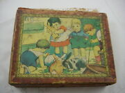 Antique Lithograph 12 Wooden Blocks Childrens Toy Puzzle Set Game 4 Sided