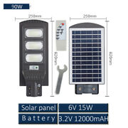 90w Led Outdoor Solar Street Light With Remote Control For Yard Garden Farm Ip65