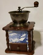 Vintage Currier And Ives Coffee Grinder Mill Wood Blue And White Tiles