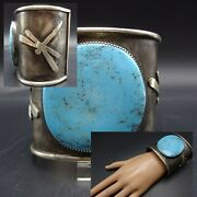 Heavy Vintage Navajo Wide Sterling Silver Turquoise Dragonfly Cuff Bracelet