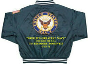 Uss Theodore Roosevelt Cvn-71 God Bless The Usa Embroidered1-sided Back Only