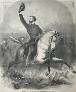 General Lyon At The Battle Of Springfield. Engraving. 1861.