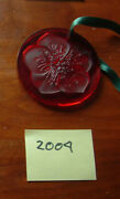 Lalique 2004 Rare Red Hellebore Flower Christmas Ornament Mint Condition