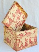 19th Century French Lace Box In Red Toile De Jouy Fabric 14½ Square