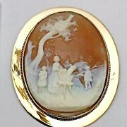 Antique 14k Yellow Gold 47x37mm Cameo Pin Woman Washing Clothes W/ Children 16gr