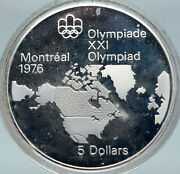 1973 Canada Elizabeth Ii Olympics Montreal World Map Proof Silver 5 Coin I86913