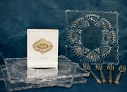 Shannon Irish Lead Crystal Appetizer Plates And Silver Forks Godinger Set Of 4