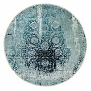 8and0398x8and0398 Wool And Silk Broken Farsian Erased Design Hand Knotted Round Rug R58549