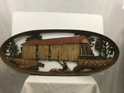 Vintage Burwood Products Co. Usa Bridge Fishing Large Wooden Plaque Wall Art 3d