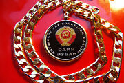 And03967 Ussr October Revolution Rouble Coin On 28 18kgf Gold Filled Elcubano Chain