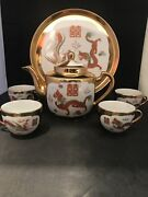 Vintage Chinese Tea Set With Dragon And Bird Design With Tray And Gold Trim