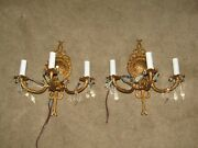 2 Solid Brass Antique Sconces 3l Ea. Spain.wiring Exc Ready To Install 13x12wx7