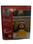New 6 Ft Lion Fuzzy Mane Santa Hat Airblown Lighted Inflatable Christmas