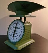 Vintage Grenn Painted Metal Sears Roebuck 1906 Kitchen Farm Barn Scale And Tray